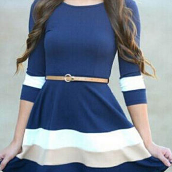 Color Block Half Sleeve Striped A-Line Mini Dress