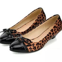Women new Fashion spring summer leopard print patchwork wedges low-heeled pointed toe sexy flat shoes large plus size 40-43