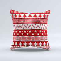Red and White Christmas Pattern  Ink-Fuzed Decorative Throw Pillow