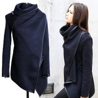 Ladies Women Zipper Woolen Warm Long Coat Trench Windbreaker Jacket Parka Blazer 7_S = 1828297988