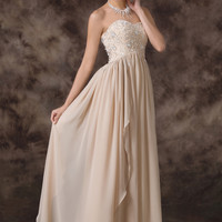 Apricot Off Shoulder Intricate Beaded Empire Waist Flounce Evening Dress