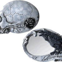 The Vault Nevermore Compact Mirror Skull Raven Crow