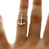 Sterling Silver Anchor Twist Midi Ring