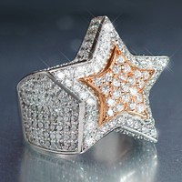 14k White Gold Finish 3D Rose Gold Star Ring
