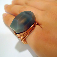 Blue lace agate copper ring - any size - wire wrapped - natural stone ring - chunky ring - cocktail ring - gemstone ring - thick ring