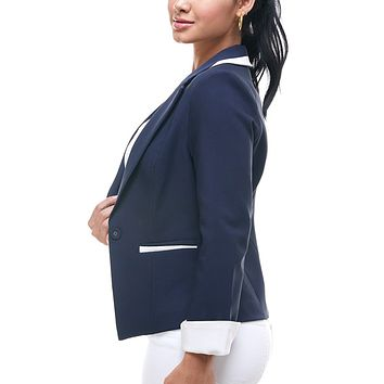 Work Office Long Roll Up Sleeve Single Button Blazer Jacket