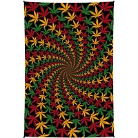 Cotton 3D Rasta Spiral Maple Leaf Tapestry Tablecloth Spread Poster
