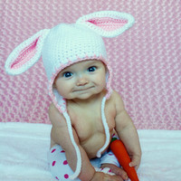 Bunny Hat  Baby Rabbit earflap Hat  in size 6 to 12 months