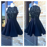 A Lace Flare Party Dress in Black