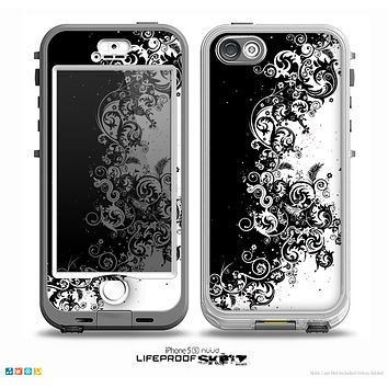 The Abstract Black & White Swirls Skin for the iPhone 5-5s NUUD LifeProof Case