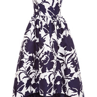 Printed Cotton and Silk-Blend Asymmetric-Hem Dress
