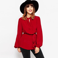 Casual Red Puff Long Sleeve Bow Waist Blouse