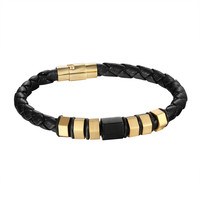 Nut Bolt Design Bracelet Black Leather Rope Wristband Gold Finish Stainless Steel