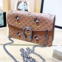 GUCCI Dionysian x Disney Mickey Mouse Women Shopping Bag Leather Metal Chain Crossbody Satchel Shoulder Bag