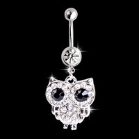 2016 new white rhinestone owl dangling pendant barbell navel belly stud body piercing jewelry belly button rings