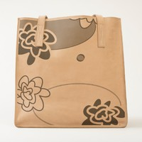 classic fun flower leather tote