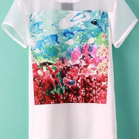 Mesh Embroidered Florals Short Sleeve Long T-shirt