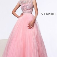 Sherri Hill 2984 Pleated Ball Gown Coral Prom Dress [2984] - $325.00 : 2015 Dress Gown Store|DressGownStore.com