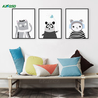 A4 Art Prints Poster Wall Picture Triptych Modern Black White Kawaii Animals Panda Cat Canvas Painting Kids Room Decor PP091