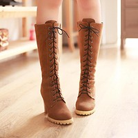 Lace Up Knee High Boots High Heels Zipper Platform Shoes Woman 3299 3299