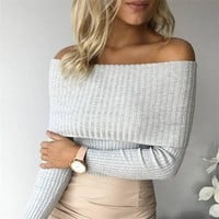 Off Shoulder Knitted Sweater Women 2018 Winter Slim Oversized Sweaters and Pullovers Autumn Jumper Pull Femme