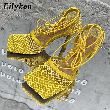 Square Toe Yellow Mesh Lace Up Cross-tied Stiletto Pumps