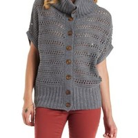 Gray Open Knit Button-Up Cowl Cardigan Sweater by Charlotte Russe