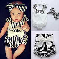 3PCS Newborn Baby Girls Clothes Summer Sleeveless Sunflower Neck Bodysuit Top Striped Shorts Bottoms Bow Outfit Kid Clothing Set