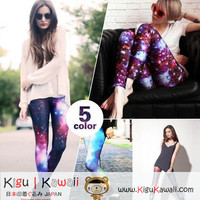 New Fashionable Stretchy and Comfy Galaxy Print Spandex Leggings 5 Colors KK32