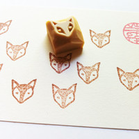 small animal face stamp. hand carved rubber stamp. fox.
