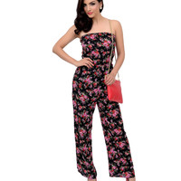 1970s Style Black & Pink Floral Strapless Knit Jumpsuit