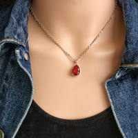 PENDANT Teardrop Red Ruby 18K White Gold Plated Pendant Necklace Jewrelry