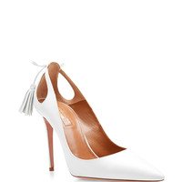 Forever Marilyn White Leather Pumps with Cut-Out