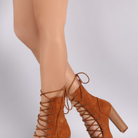 Liliana Suede Corset Lace Up Open Toe Ankle Booties