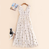 Starry, Starry Night -  White Tulle & Golden Stars Mesh Dress