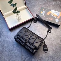 YSL Bags Type:Satchel Closure Type:Buckle Material:Leather Color:black Size:22X16X9CM