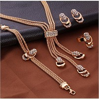 Fashion exaggerated crystal jewelry, bridal necklace earrings four sets