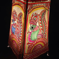 ON SALE :Handpainted leather lampshade/kalamkari floor lampshade/leather floor lampshade/bird motif kalamkari handpainted lampshade