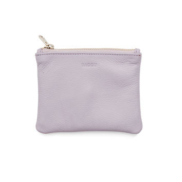 BAGGU Leather Flat Pouch Small Lavender