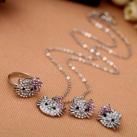 New Fashion Crystal Cat Stud Earrings Rhinestone Hello Kitty Earrings Bowknot KT Jewelry For Girls Ring,Earring and Necklace Set