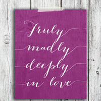 Truly Madly Deeply in Love Digital Download - Art - Canvas - Poster - Print - Home decor - Typography - wall art - framed  - gold glitter