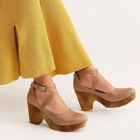Thick High Heels Ladies Leather Shoes Ankle Pumps Round Toe Footwear Sandals Fashion Women Shoes