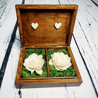 Wedding rings box vintage puzzle love wedding pillow rustic looking old moss sola flowers shabby chic brown hearts distressed