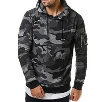 Fashion Men Camouflage Hooded Sportswear Tracksuit