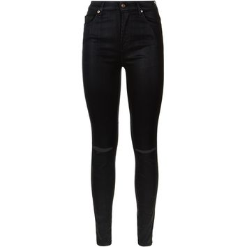 7 For All Mankind Super High Waist Ripped Coated Skinny Jeans   Harrods