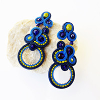 Extravagant stud earrings. Flashy stud earrings. Bold earrings. Elegant jewelry. Glamour braided jewelry. Soutache Handmade jewelry.