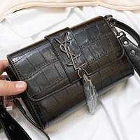 Hipgirls YSL New fashion leather shoulder bag crossbody bag Black
