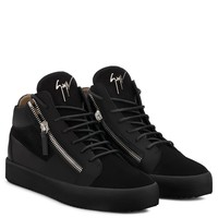 Giuseppe Zanotti Gz Kriss Black Suede And Calfskin Mid-top Sneaker