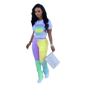 ANJAMANOR Girl Two Piece Set Color Block Stacked Jogging Pants Plus Size Clothing Womans 2 Piece Summer Outfits 2020 D45-DB45