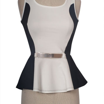 Women Sexy Sleeveless Two Tone Cropped Peplum Frill Skater Top With Belt Accent